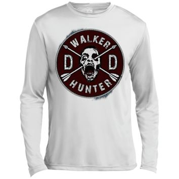 Walking Dead Daryl Dixon Wings and Walker Patch Two Sides ST350LS Spor-Tek LS Moisture Absorbing T-Shirt
