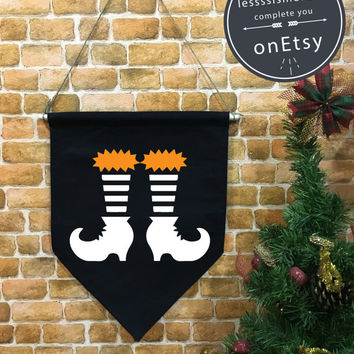 Halloween baner flag, Boots Witch flag, Halloween Decor, Halloween banner, Halloween wall hanging decoration funny gifts