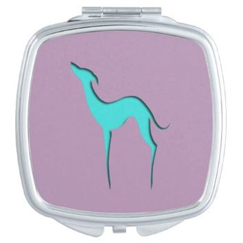 Greyhound/Whippet turquoise silhouette Mirror Vanity Mirrors