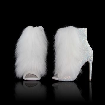 "Nelly Bestie Open Toe Ankle Boot Vegan Fur & Glitter Booties - 4.75"" Heels Ice White"
