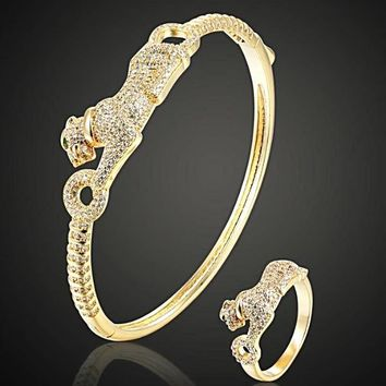 Rhodium silver gold color Leopard bangle and ring sets For