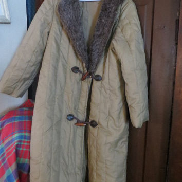 1970  womens PUFFER  long  brown COAT    w FAUX  rabbit fur coat  wood toggle buttons