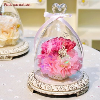 Glass bottles Fresh Preserved Carnation Flower Immortal Colorful Roses for Girl Birthday Wedding Gifts