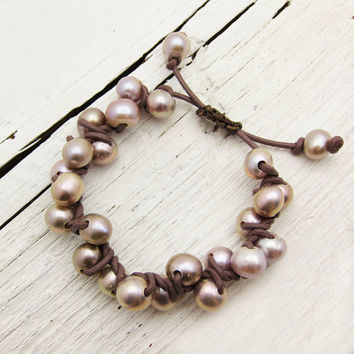 Pink Pearl and Leather Bracelet: Knotted w/ Natural Fresh Water Pearls, nature nautical ocean feminine soft organic winter pastel under 100