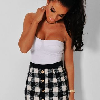 Darcie Monochrome Tartan Mini Skirt | Pink Boutique