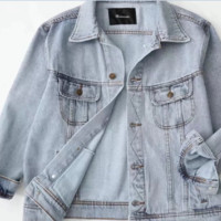 FREE SHIPPING Autumn fashion loose-fitting large version of washing for old long-sleeved denim jacket