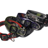 Real Camo on Dusty Red, Olive Green, Purple and Gray Dog Collar