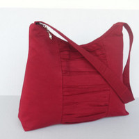 READY TO SHIP / Medium Zipper Top Purse / Hobo Bag / Shoulder Bag / Cranberry Red with Gathered Panel