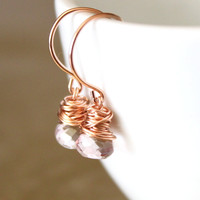 Pink Quartz Rose Gold Earrings Wire.. on Luulla