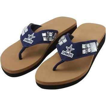 Dallas Cowboys Jewel Wedge Flip Flops Size 5-6