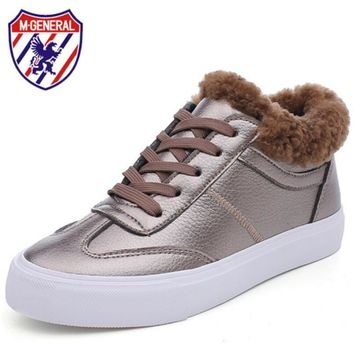 M GENERAL Winter Shoes Women 2017 Winter Boots Woman Sneakers Casual White Shoes Lace-Up Plush Warming Women Boots Platform