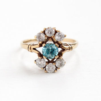 Vintage 10k Yellow Gold Blue Zircon & Created Spinel Ring - 1940s Size 7 Cluster Shield Ring Blue, White Gem Fine Jewelry