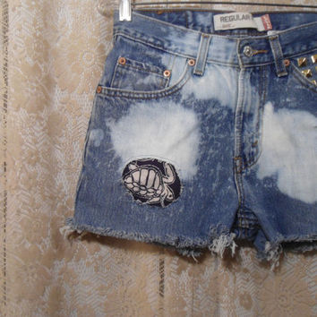 """Waist is 29"""" Studded Bleached Patched Frayed Destroyed Ripped Distressed Levis High Waist 505 Jean Shorts"""