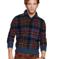 PLAID SHAWL-COLLAR SWEATER