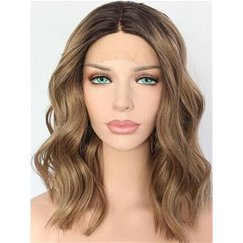 Short Chocolate Saddle Brown Bob Wave Synthetic Lace Front Wig