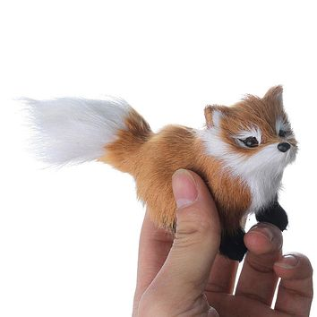 Hot 12*5*7cm simulation brown fox toy polyethylene & furs squatting fox model home decoration Animal Doll birthday gift t056