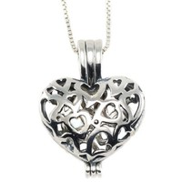 Sterling Silver Heart Shaped Vervain Vampire Pendant Necklace