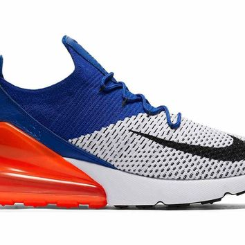"Nike Air Max 270 Flyknit ""White/Racer Blue Orange AO1023 101 Size 8,"
