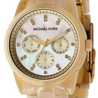 Michael Kors Ivory Patterned Plastic Link Bracelet MK5039 Watch
