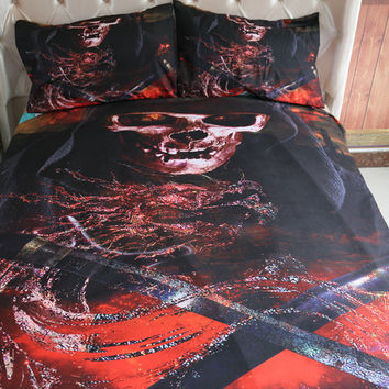 Horror skull Bedding Sets Deadpool Quilt Cover bloody bed products Bedclothes Bed line set Twin/Queen/King Kids Duvet cover 3pcs