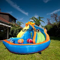 inflatable water slide pool with cannon happy summer for kids,newest hot sale 420D oxford inflatable slide water beach for rent