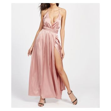 Pink Satin Plunge Backless Slit Maxi Dress