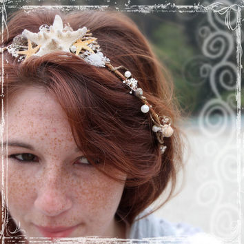 Mermaid Head Wreath - Wedding Halo - Seashell Crown Accessories - Weddings, Festival, Beach - Flower Girl, Bridal - Starfish