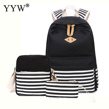 School Backpack trendy 3 Pcs/Set Female Backpack Set Striped Canvas Bags for Women 2018 Casual Crossbody Bag & Clutches  for Children AT_54_4