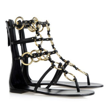 Black wings High Quality New Summer Lace Up Sandals = 4777243396