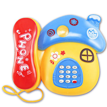 Electronic Toy Phone For Kids Baby Mobile Phone Educational Learning Toys Music Cartoon Mushrooms Toy Phone For Children