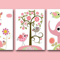 "Kids Wall Art, Baby Girl Room Decor,Nursery print,set of 3 8"" x 10"" Print,owls,elephant,turtle,rose,pink,yellow,green,decoration"