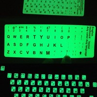 KEYBOARD STICKER RUSSIAN LETTER ULTRA BRIGHT FLUORESCENCE LUMINOUS WATERPROOF LAPTOP COMPUTER.