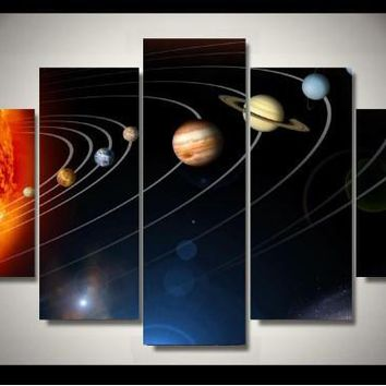 Inner Outer Planets Solar System 5-Piece Wall Art Canvas