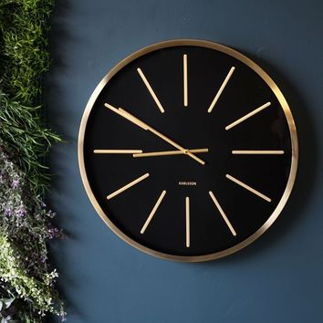 Black & Brass Wall Clock - View All - Home Accessories