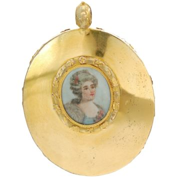 Antique Georgian Pendant with Hand Painted Portrait & Woven Hair in Original Case