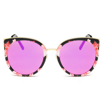Polycarbonate And Metal Frame Cat Eye Mirrored Sunglass