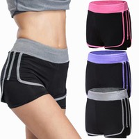 Sports Gym Shorts Women Yoga Shorts Women Workout Fitness Stretch Sport Shorts Elastic Quick Dry Running Shorts 2-in-1 Running
