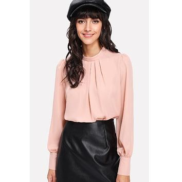 Pink Stand Collar Pleated Blouse