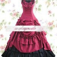 Red And Black Sleeveless Ruffled Gathering Bow Cotton Classic Lolita Dress [T110148] - $73.00 : Cosplay, Cosplay Costumes, Lolita Dress, Sweet Lolita