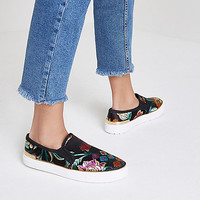 Black floral embroidered slip on plimsolls - Shoes & Boots - Sale - women