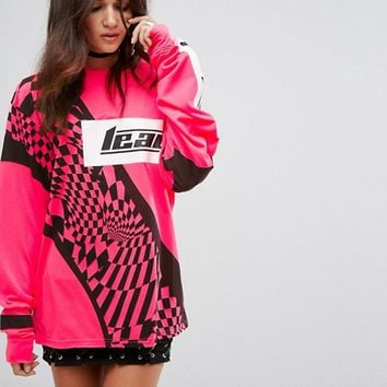 Jaded London Festival Oversized Long Sleeve Top In Neon at asos.com