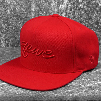 9five Script Red on Red Snapback