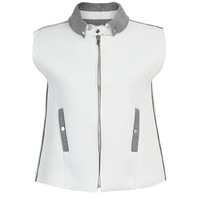White Gilet with Gray Collar