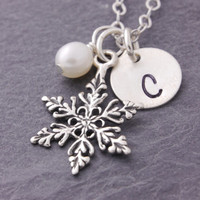 Snowflake Necklace, silver snowflake, snowflake charm, winter jewelry, initial necklace, personalized jewelry, christmas necklace, N21