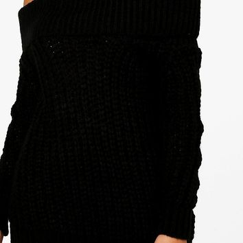 Tiffanie Soft Knit Marl Bardot Jumper | Boohoo