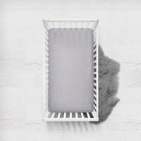 Linen Fitted Crib Sheet in Silver Lining