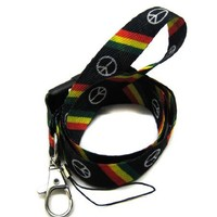 1 X Lanyard Key Strap Id Holder Slant Rasta Peace