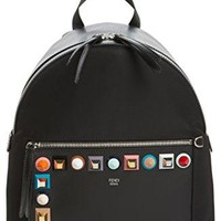 Fendi Black Multi Studs Nylon Backpack Authentic New