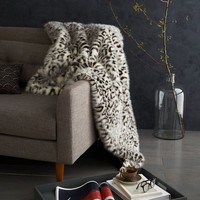 Faux Fur Snow Leopard Throw - Stone White