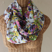 Infinity Floral COWL Scarf Pink Green Blue Cotton Scarf Multi Color Statement Accent Wear Handmade Scarf Women's Girl's Fashion Accessory